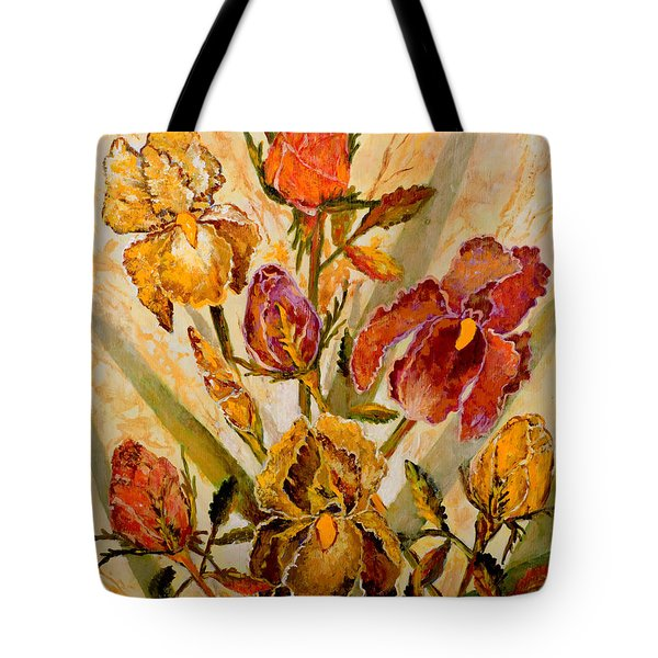 Roses And Irises Tote Bag by Lou Ann Bagnall