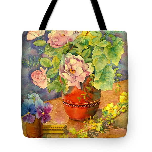 Roses And Pansies Tote Bag by Julia Rowntree