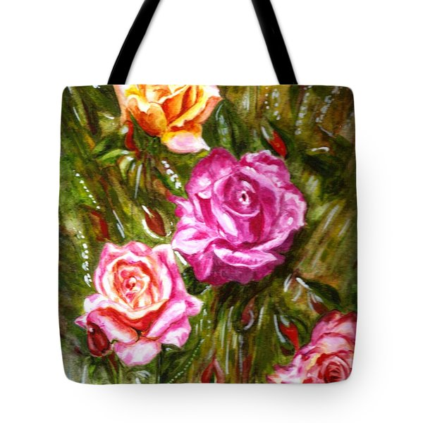 Tote Bag featuring the painting Roses by Harsh Malik