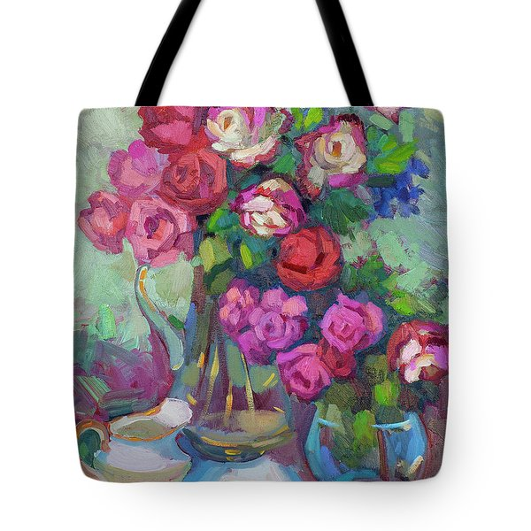 Roses In Two Vases Tote Bag by Diane McClary