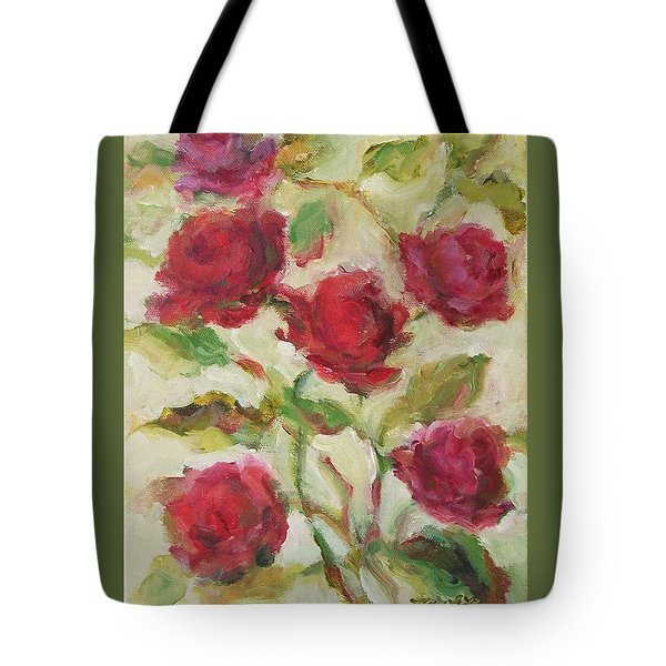 Tote Bag featuring the painting Roses by Mary Wolf