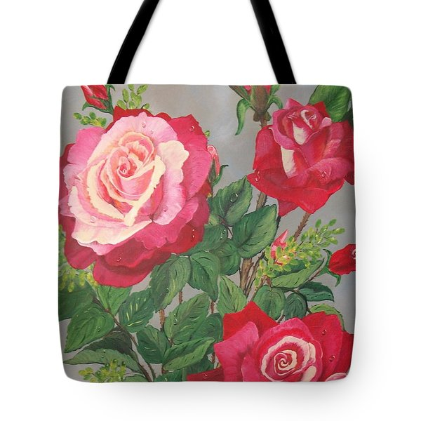 Tote Bag featuring the painting Roses N' Rain by Sharon Duguay