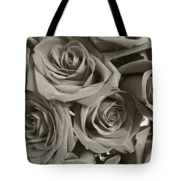Tote Bag featuring the photograph Roses On Your Wall Sepia by Joseph Baril