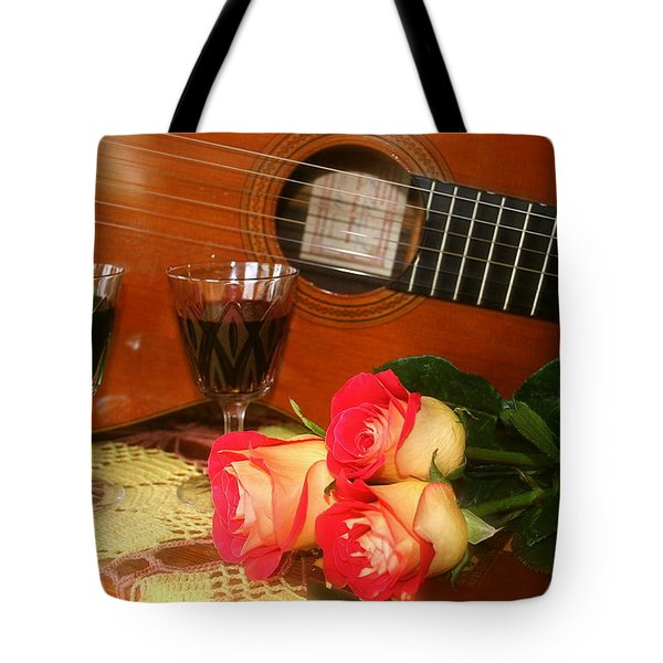 Guitar 'n Roses Tote Bag