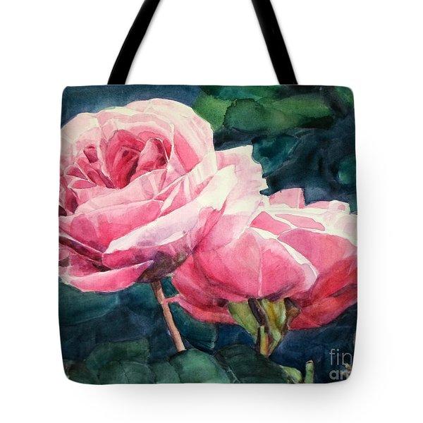 Watercolor Of Two Luscious Pink Roses Tote Bag