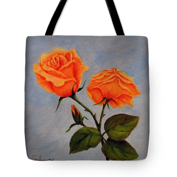 Roses With Bud Tote Bag by Roseann Gilmore