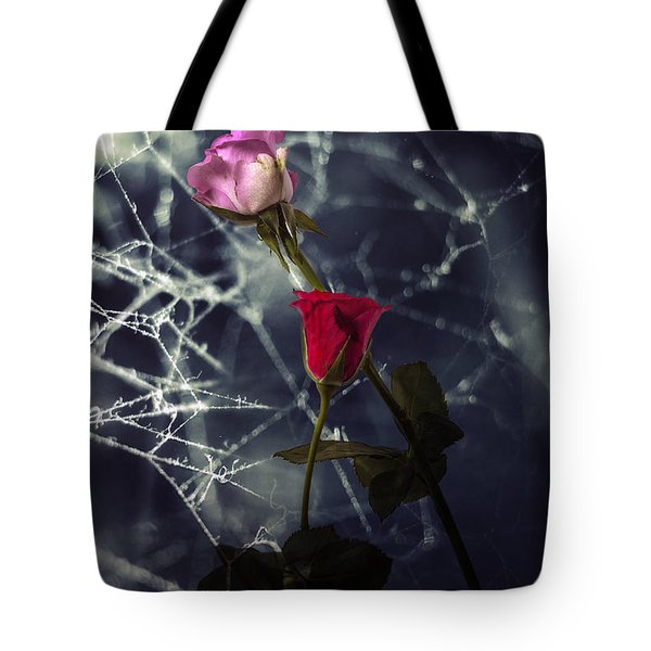 Roses With Coweb Tote Bag