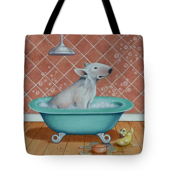 Tote Bag featuring the painting Rosie In The Bliss Bubbles by Cynthia House