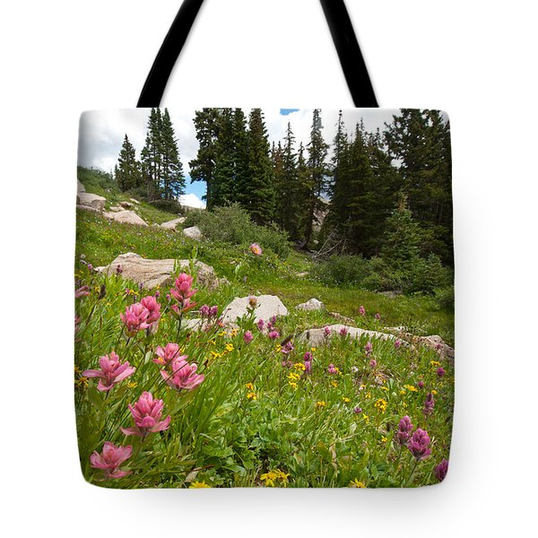 Rosy Paintbrush And Trees Tote Bag