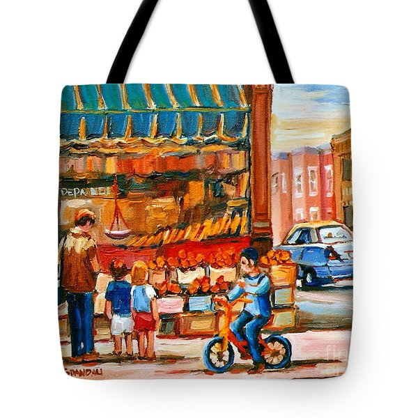 Roter's Fifties Fruit Store Vintage Montreal City Scene Paintings Tote Bag by Carole Spandau