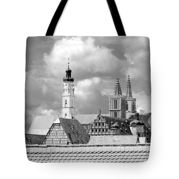 Rothenburg Towers In Black And White Tote Bag