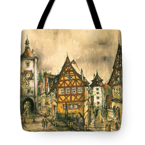 Rothenburg Bavaria Germany - Romantic Watercolor Tote Bag