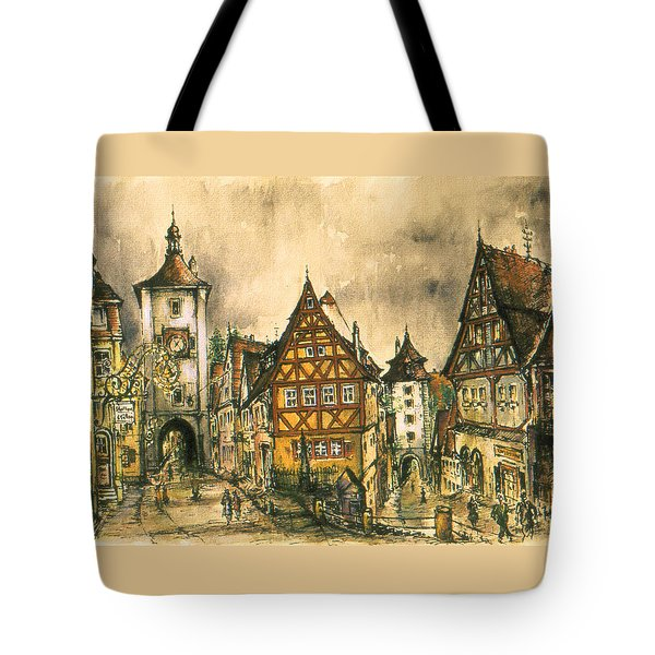 Rothenburg Bavaria Germany - Romantic Watercolor Tote Bag by Art America Gallery Peter Potter