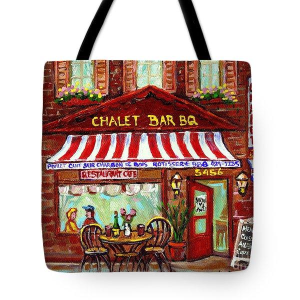 Rotisserie Le Chalet Bbq Restaurant Paintings Storefronts Street Scenes Diners Montreal Art Cspandau Tote Bag