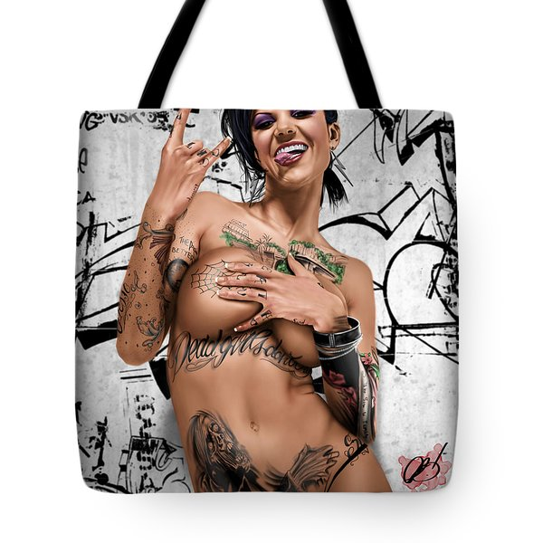 Tote Bag featuring the painting Rotten To The Core by Pete Tapang