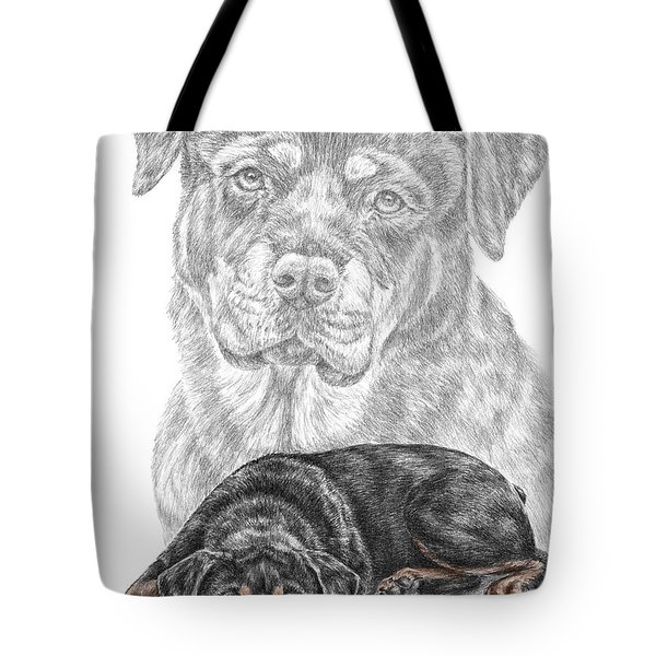 Rottie Charm - Rottweiler Dog Print With Color Tote Bag
