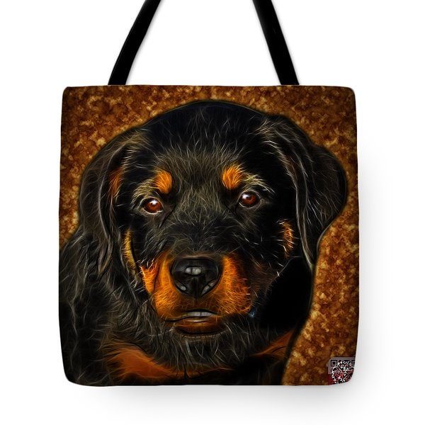Tote Bag featuring the painting Rottweiler Pop Art 0481 - Bc1 - Orange by James Ahn