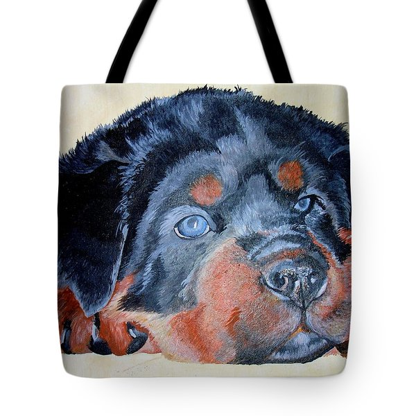 Tote Bag featuring the painting Rottweiler Puppy Portrait by Tracey Harrington-Simpson