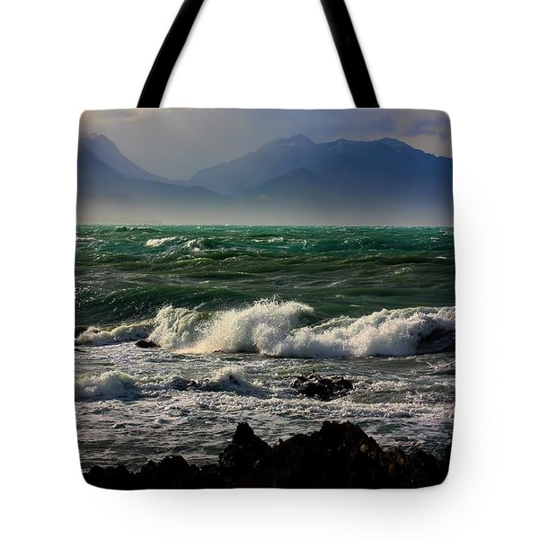 Tote Bag featuring the photograph Rough Seas Kaikoura New Zealand by Amanda Stadther