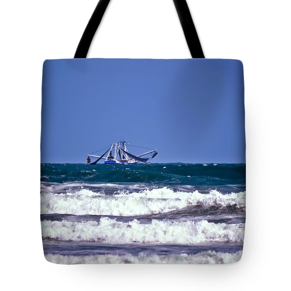 Tote Bag featuring the photograph Rough Seas Shrimping by DigiArt Diaries by Vicky B Fuller