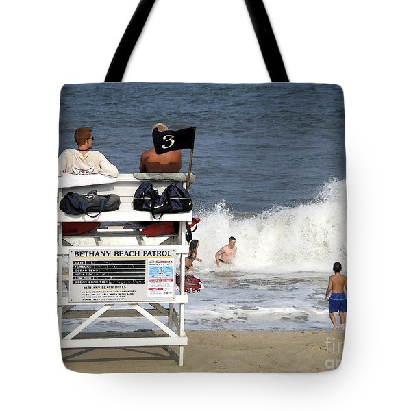 Rough Water At Bethany Beach In Delaware  Tote Bag