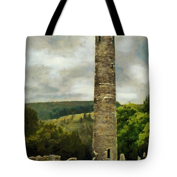 Tote Bag featuring the painting Round Tower At Glendalough by Jeff Kolker