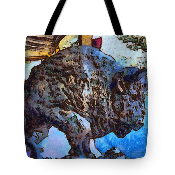 Round Up Market Buffalo Tote Bag by Barbara Snyder