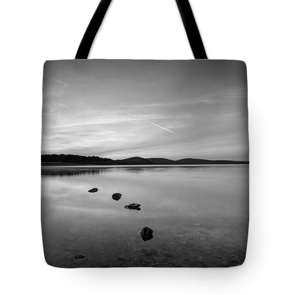 Round Valley At Dawn Bw Tote Bag