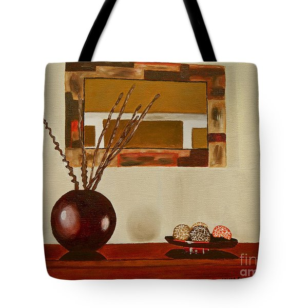 Tote Bag featuring the painting Round Vase by Laura Forde