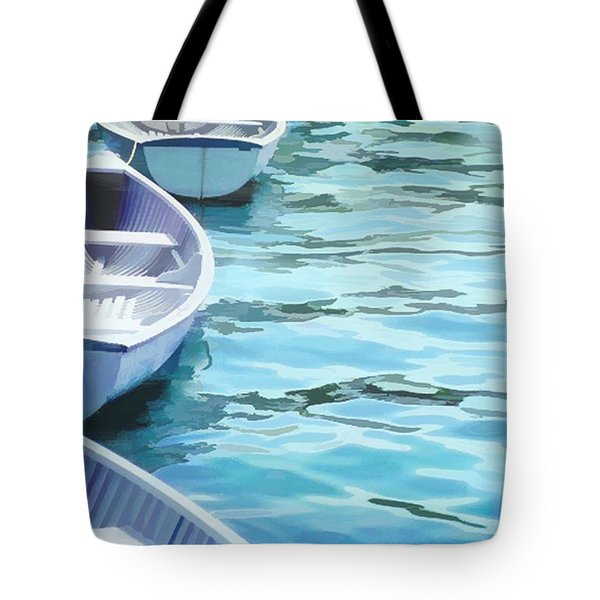 Rounded Row Of Rowboats Tote Bag