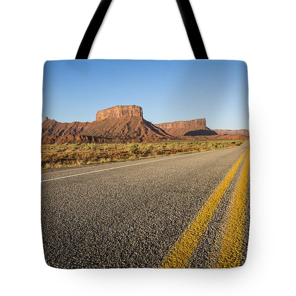 Route 128 Near Castle Valley Tote Bag by Adam Romanowicz