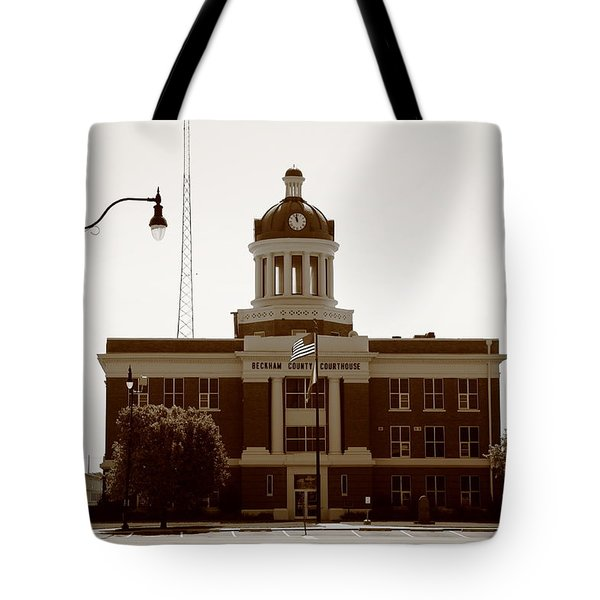 Tote Bag featuring the photograph Route 66 - Beckham County Courthouse by Frank Romeo