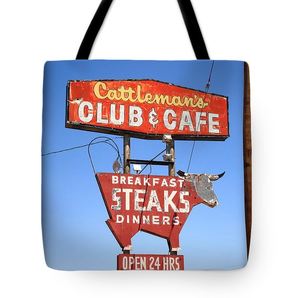 Route 66 - Cattleman's Club And Cafe Tote Bag
