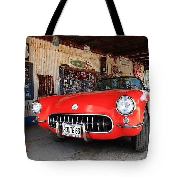 Route 66 Corvette Tote Bag