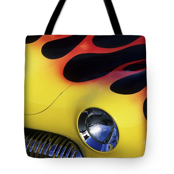 Route 66 Flaming Rod Tote Bag by Bob Christopher