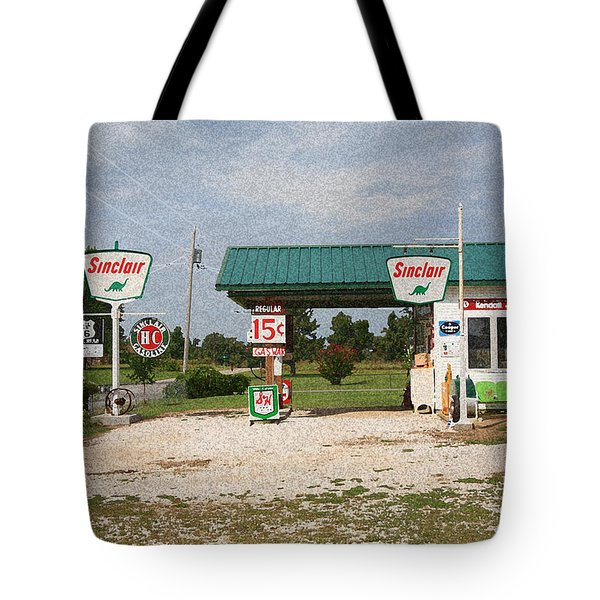 Route 66 Gas Station With Sponge Painting Effect Tote Bag
