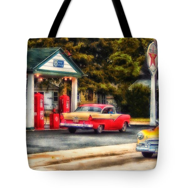 Route 66 Historic Texaco Gas Station Tote Bag by Thomas Woolworth