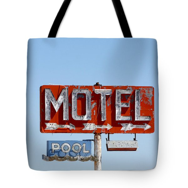 Tote Bag featuring the photograph Route 66 Motel Sign by Art Block Collections