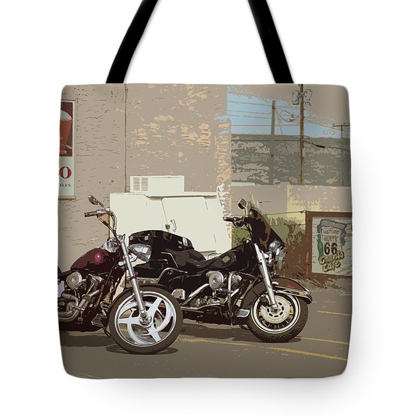 Route 66 Motorcycles With A Dry Brush Effect Tote Bag by Frank Romeo