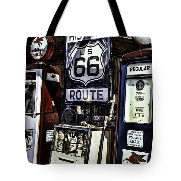 Tote Bag featuring the painting Route 66 by Muhie Kanawati