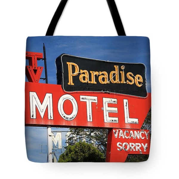 Route 66 - Paradise Motel Tote Bag by Frank Romeo