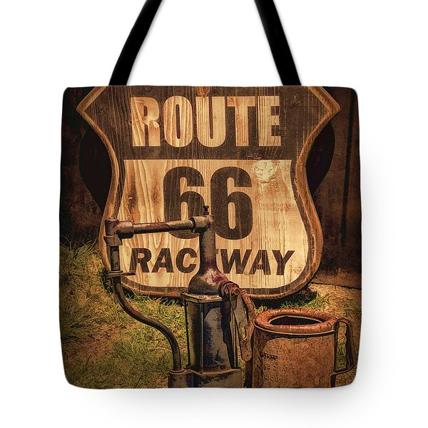 Route 66 Raceway Tote Bag by Priscilla Burgers