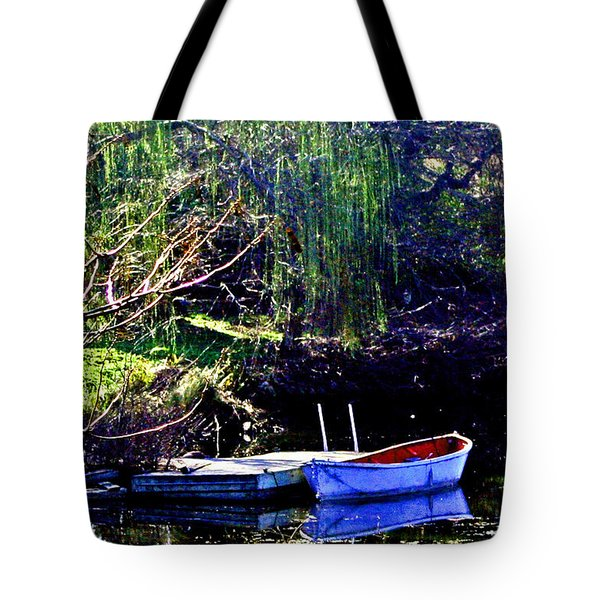 Row Boat At Dock Tote Bag