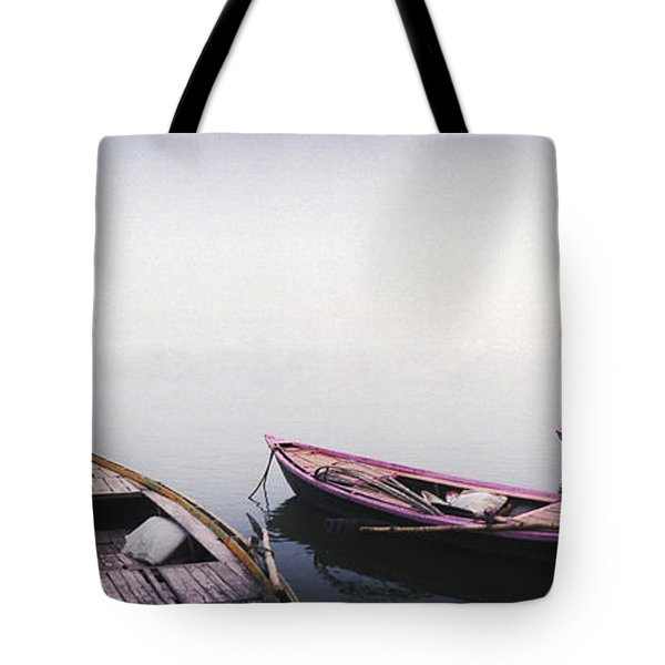 Row Boats In A River, Ganges River Tote Bag