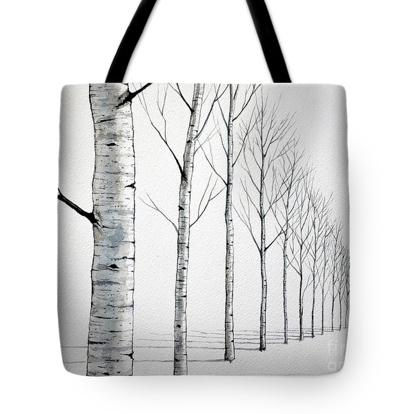 Row Of Birch Trees In The Snow Tote Bag
