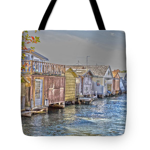 Row Of Boathouses Tote Bag by William Norton