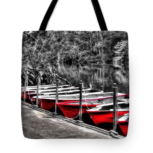 Row Of Red Rowing Boats Tote Bag