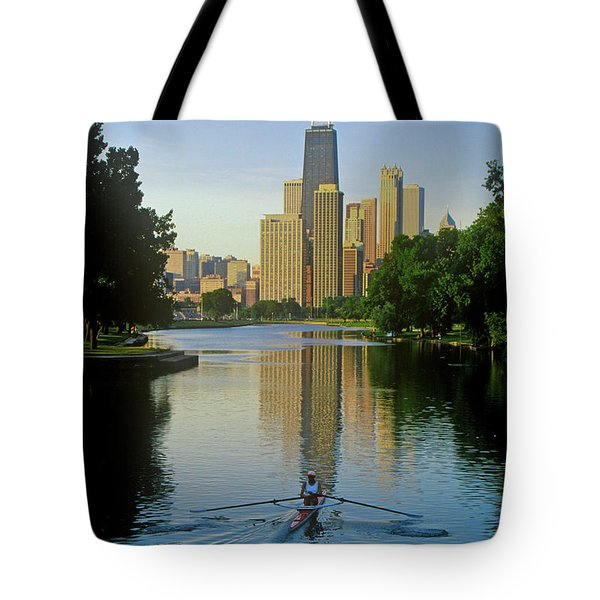 Rower On Chicago River With Skyline Tote Bag