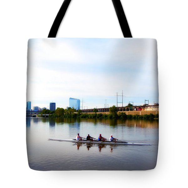 Rowing In Philadelphia Tote Bag by Bill Cannon
