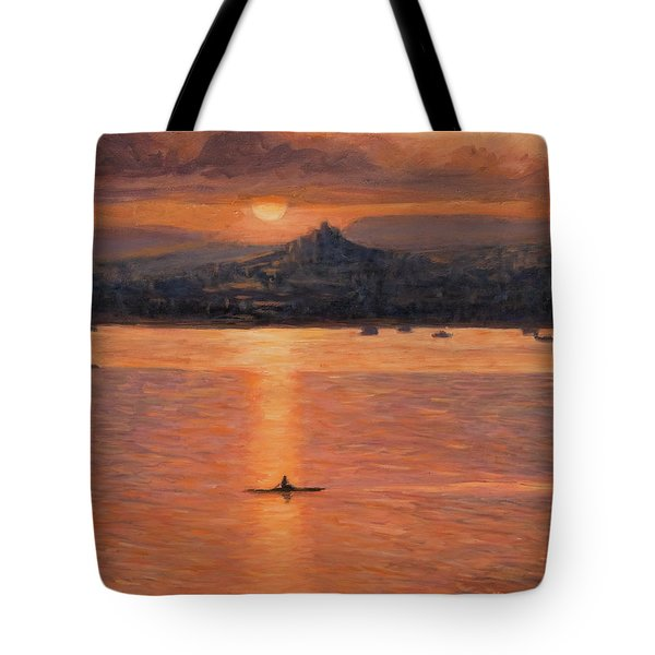 Rowing In The Sunset Tote Bag by Marco Busoni